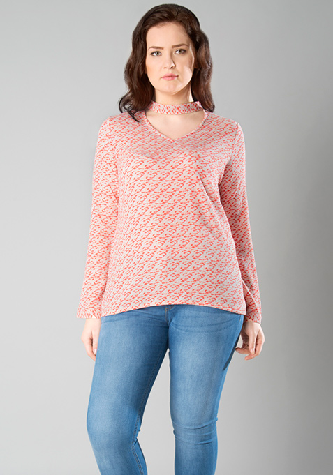 CURVE Choker Neck Top - Coral