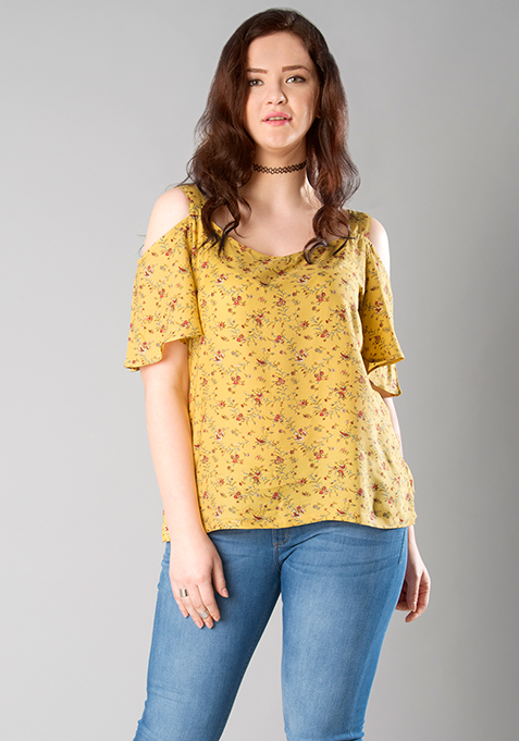 CURVE Stappy Cold Shoulder Top - Yellow Floral
