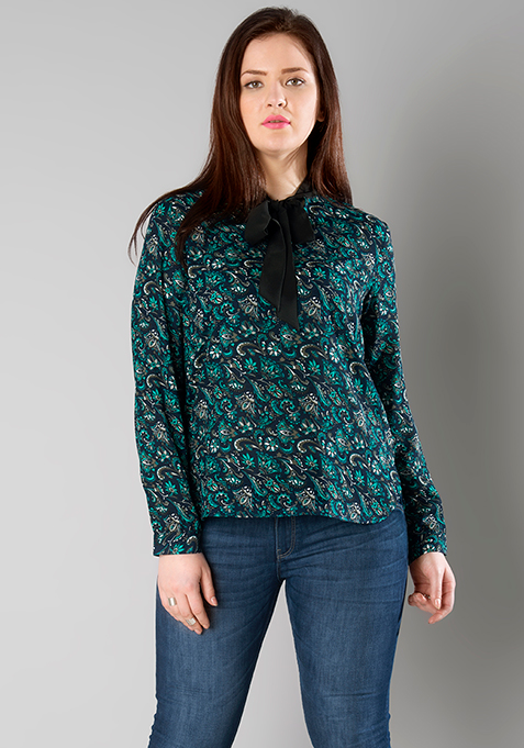 CURVE Floral Pussy Bow Blouse