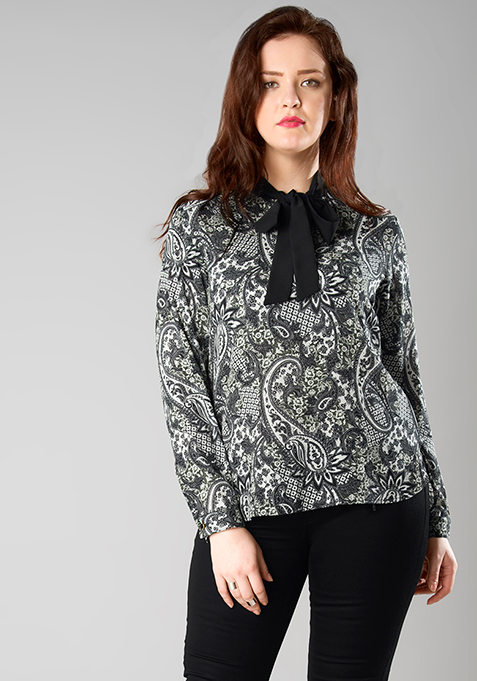 CURVE Paisley Pussy Bow Blouse
