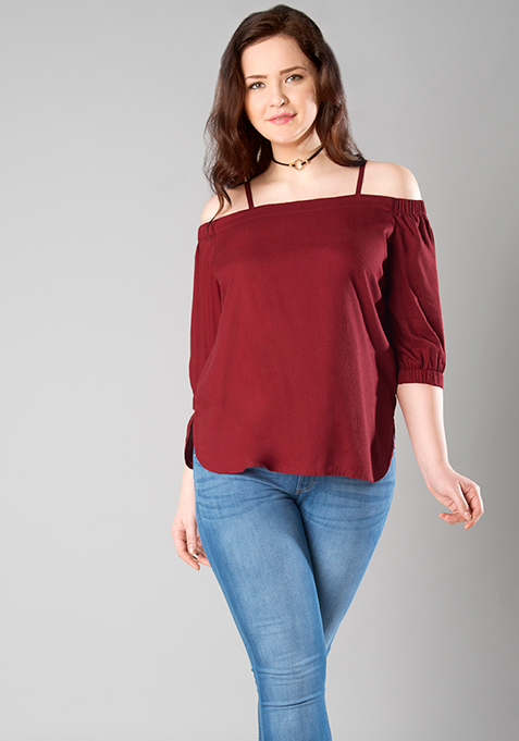 CURVE Off Shoulder Spaghetti Top - Oxblood