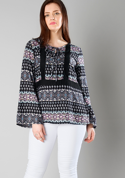 CURVE Bell Sleeves Colorblock Top - Aztec