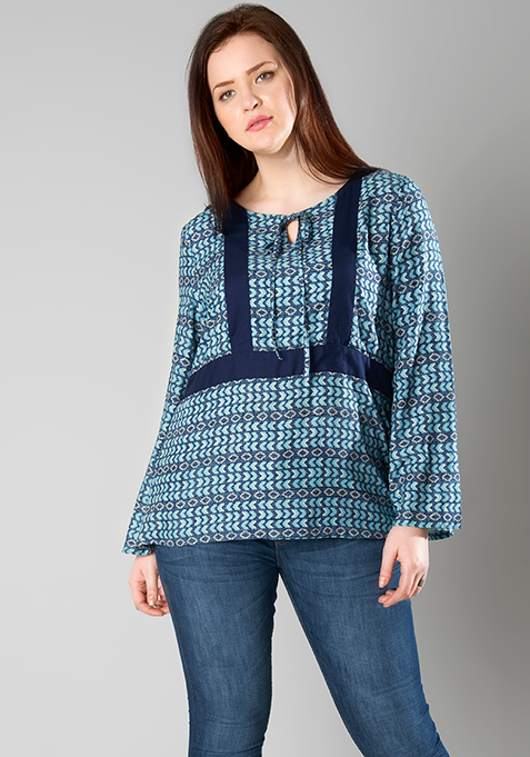 CURVE Bell Sleeves Colorblock Top - Ethnic