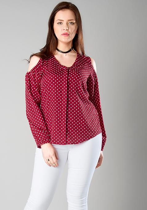 CURVE Cold Shoulder Shirt - Pink Polka