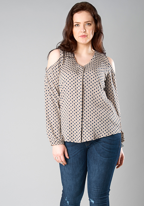 CURVE Cold Shoulder Shirt - Beige Polka