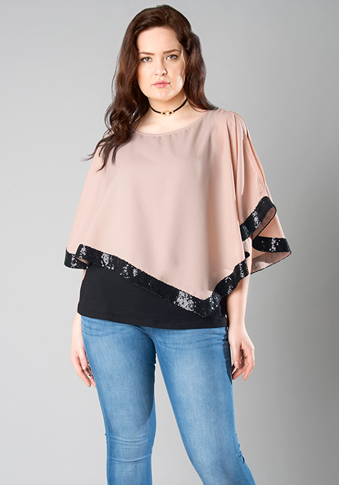 CURVE Sequin Accent Poncho Top - Blush