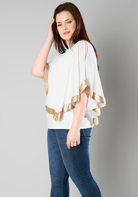 CURVE Sequin Accent Poncho Top - White