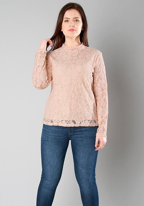 CURVE Blush Lace High Neck Top