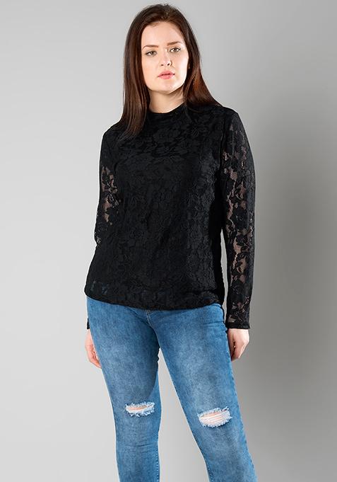 CURVE Black Lace High Neck Top