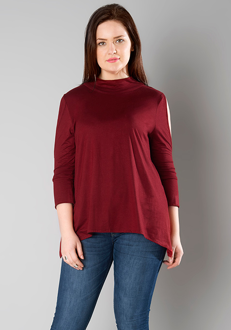 CURVE Cold Shoulder Jersey Top - Oxblood