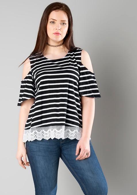 CURVE Lace Hem Cold Shoulder Tee - Stripes