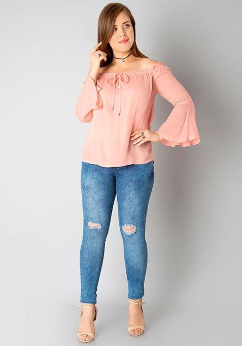CURVE Bardot Bell Sleeve Top - Peach