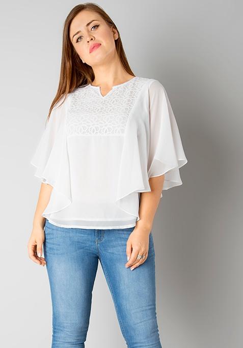 CURVE Flared Sleeve Blouse - White