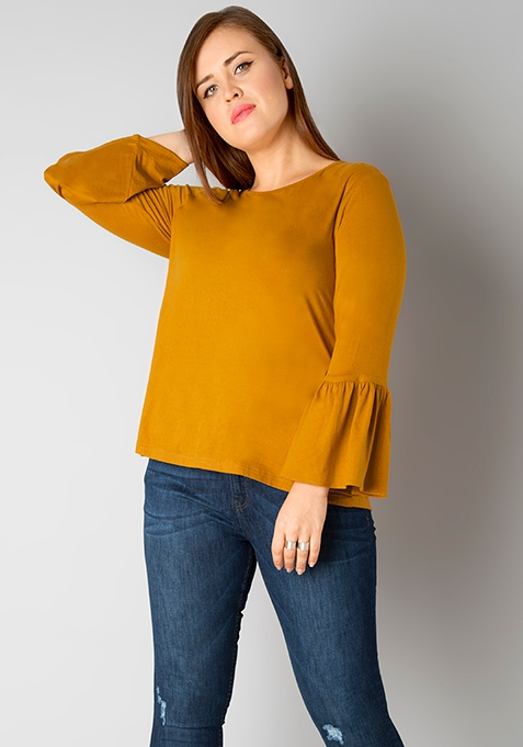 CURVE Bell Sleeves Jersey Top - Mustard