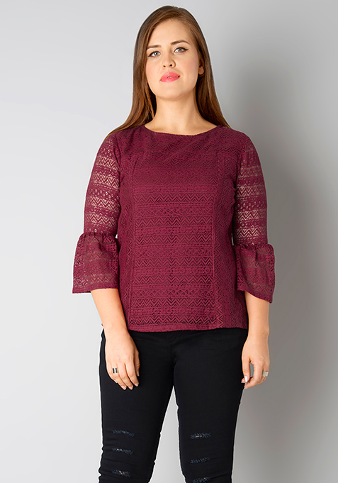 CURVE Bell Sleeves Lace Top - Oxblood