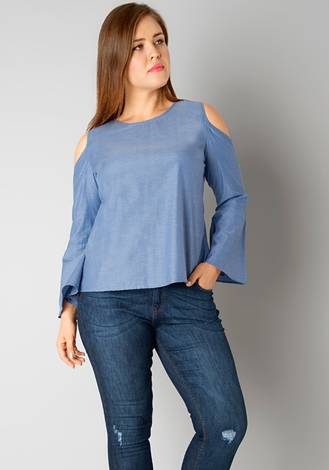 CURVE Cold Shoulder Blouse - Blue