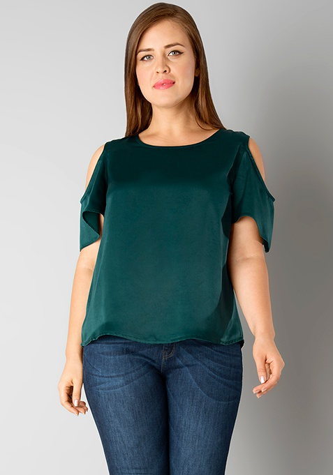 CURVE Frill Sleeve Top - Green