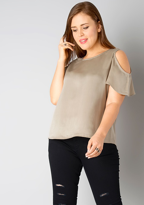 CURVE Frill Sleeve Top - Gold