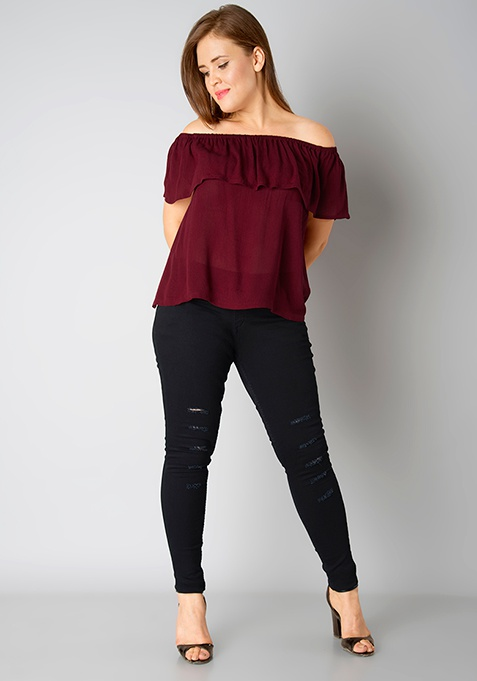 CURVE Off Shouder Ruffled Top - Oxblood