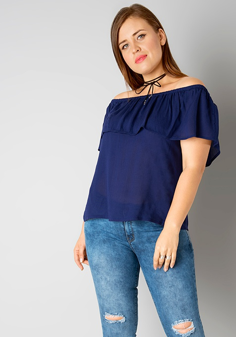CURVE Off Shouder Ruffled Top - Navy