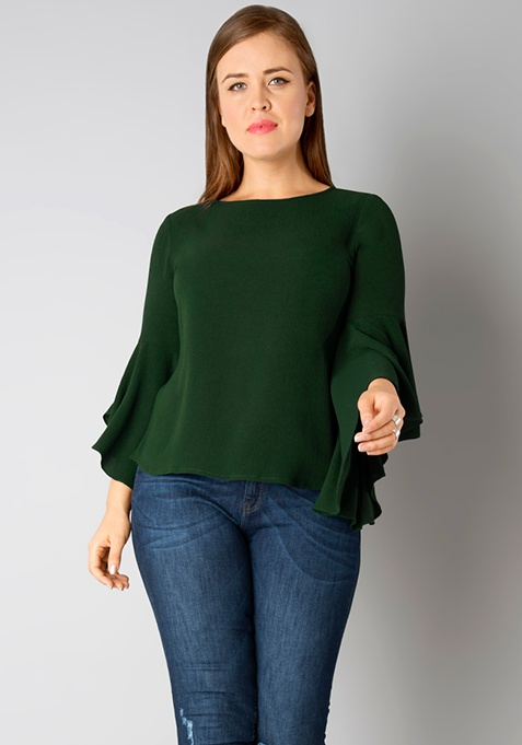 CURVE Flutter Sleeve Blouse - Green