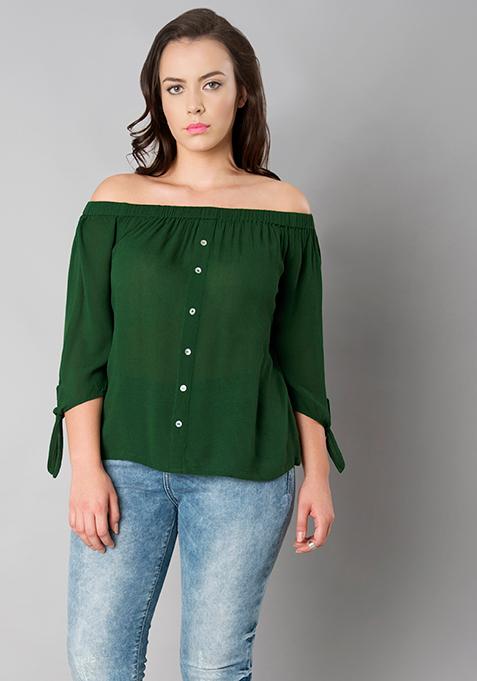 CURVE Tie Up Off Shoulder Top - Emerald Green