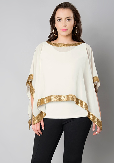 CURVE Sequin Double Layer Poncho Top - White