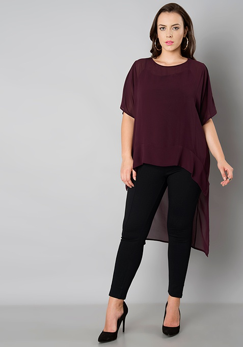 CURVE Boxy High Low Top - Wine