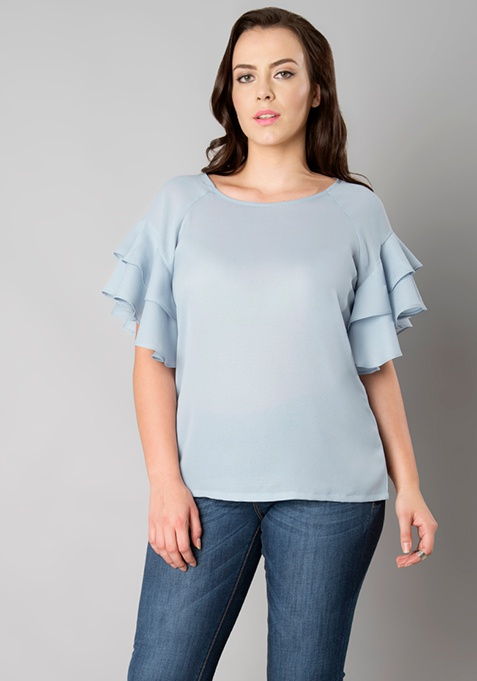 CURVE Double Layer Ruffle Top - Powder Blue