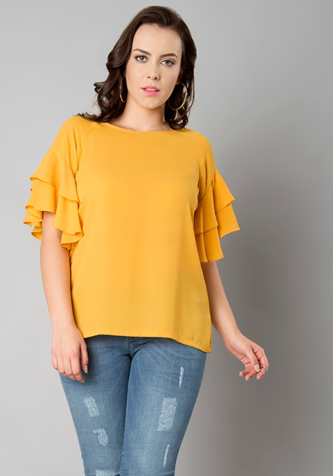 CURVE Double Layer Ruffle Top - Mustard