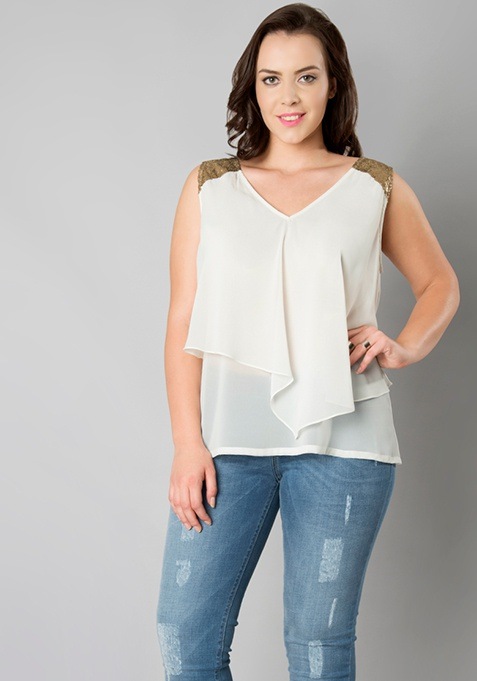CURVE Sequin Double Layer Top - White