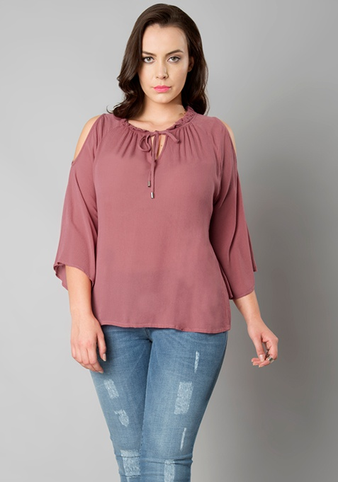 CURVE Pleated Neck Cold Shoulder Top - Dusty Pink