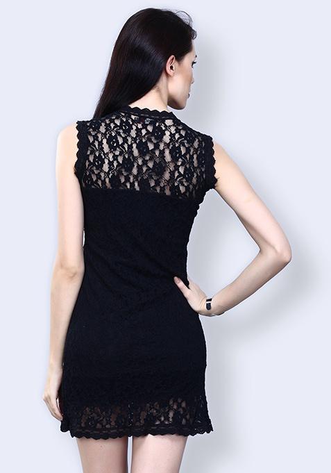 Infinite Night Lace Dress - Black