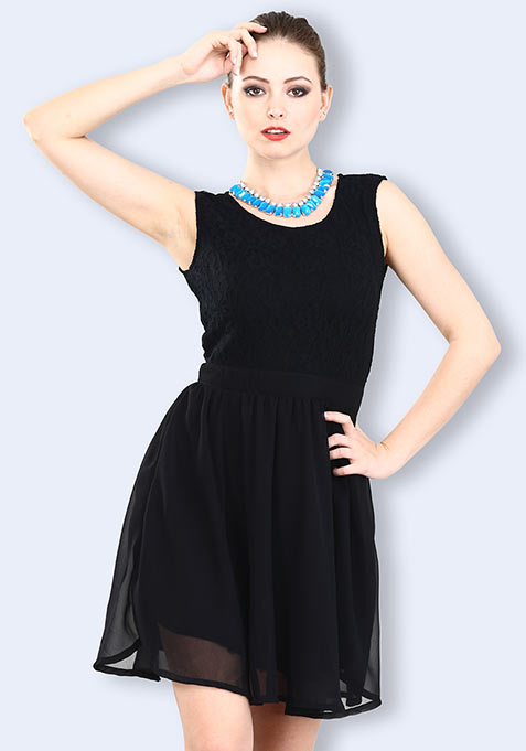 Moonlight Lace Dress - Black