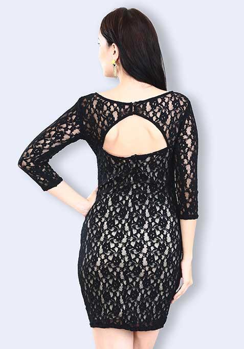 Back Bite Lace Dress - Nude