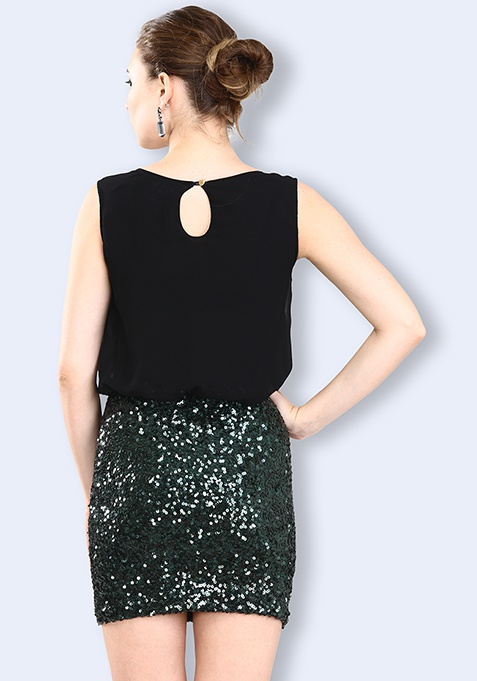 Sequin Inject Dress - Green