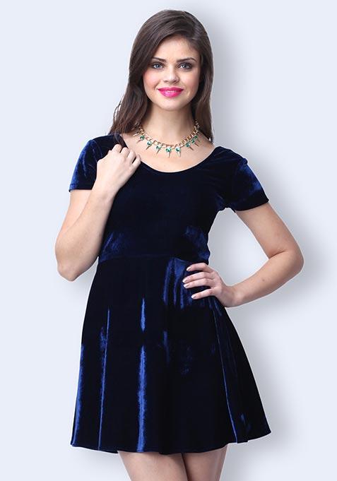 Nocturne Velvet Dress - Blue