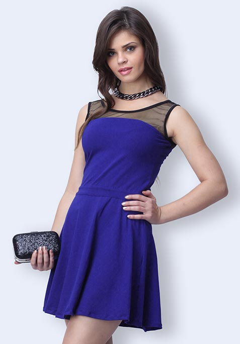 Mesh Mire Skater Dress - Blue