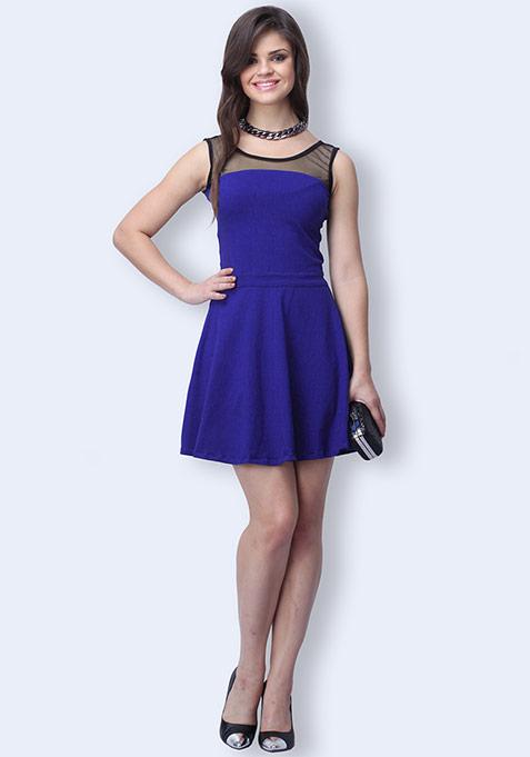 Mesh Mire Skater Dress - Blue