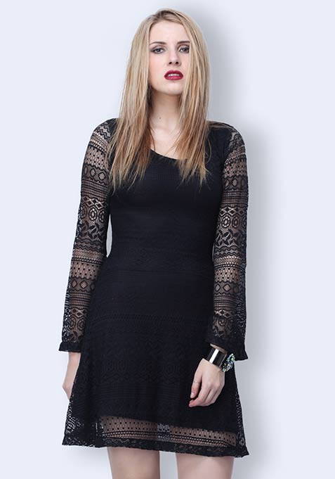 Lost In Lace Skater Dress - Black