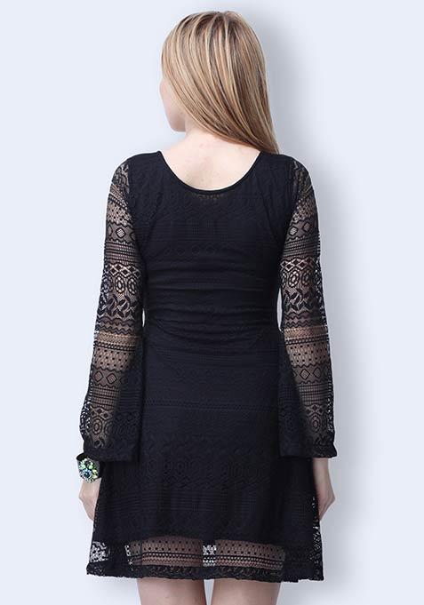 Lost In Lace Skater Dress - Black
