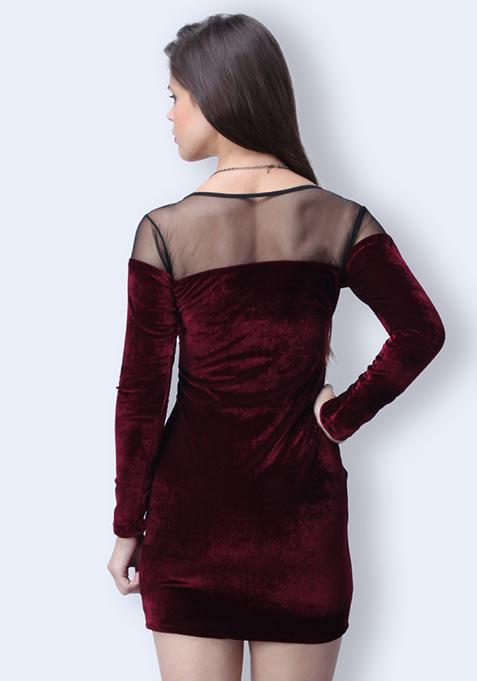 In The Deep Velvet Dress - Oxblood