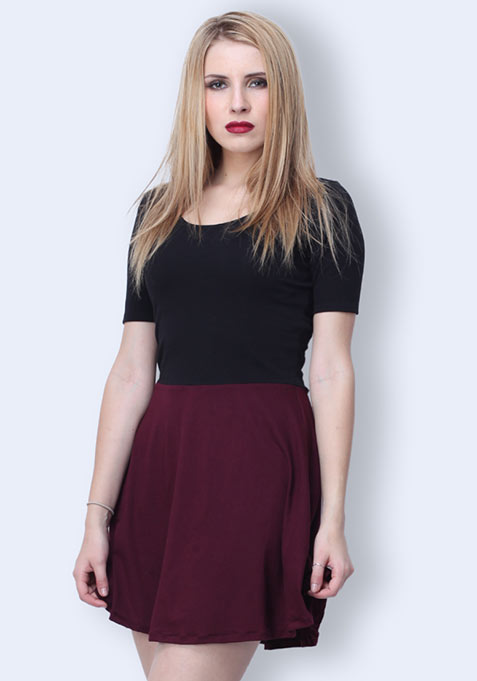 Color Clash Skater Dress - Burgundy