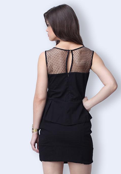 Sweep Away Peplum Dress - Black