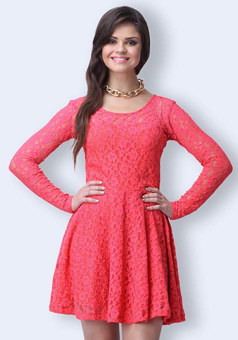 True Romance Skater Dress - Coral