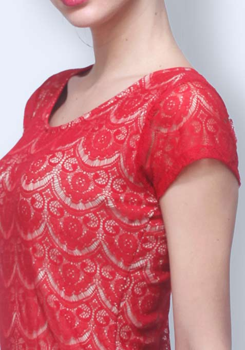 Lady Up Lace Dress - Red