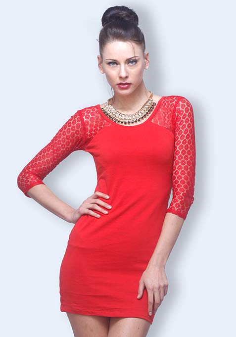 Lace Side Bodycon Dress - Red