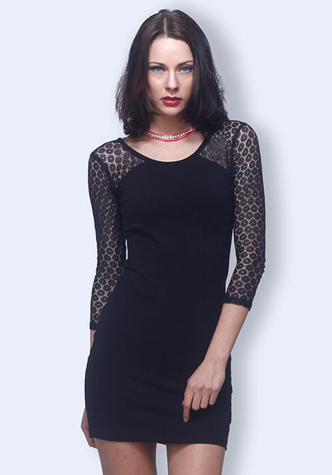 Lace Side Bodycon Dress - Black