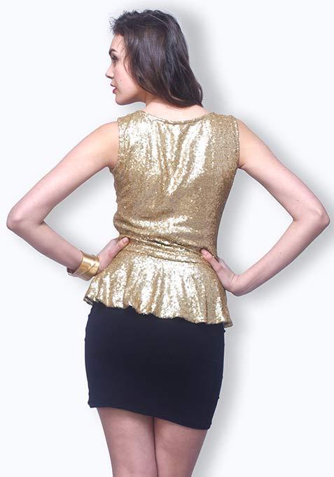Peplum Point Sequin Dress