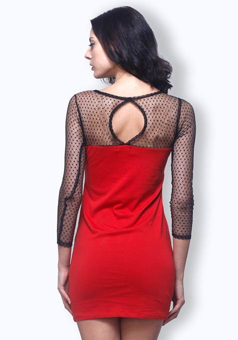 Mesh Maze Dress - Red